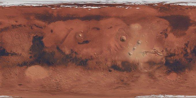 Map, Mars, Planet, Red, Desert, World, Ice, Brown Map