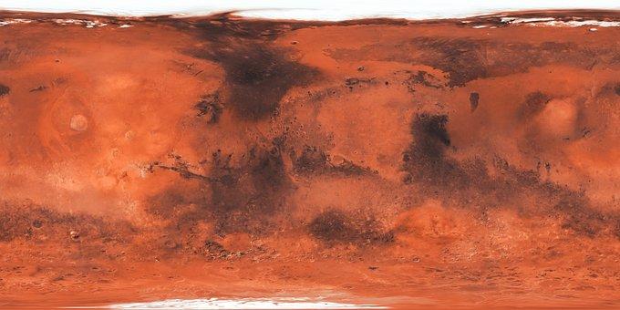 Map, Mars, Planet, Red, Ice Desert, World, Orange World