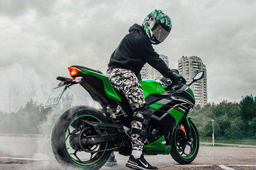 Green, Moto, Biker, Motorcycle, Street, Nature, Press