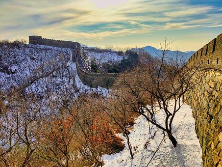 Mutianyu, Great Wall Of China, Trees, Sky, Landmark