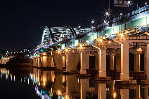Looking, Night View, Bridge, Seoul, Night, Korea