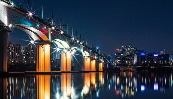 Tangshan Railway Bridge, Night View, Bridge, Seoul
