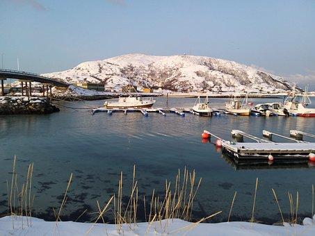 Sea, Water, Landscape, Color, Winter, Norway, Snow