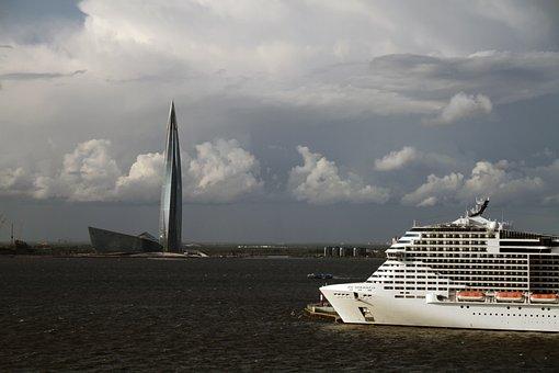 St Petersburg, Lakhta Center Tower, Port