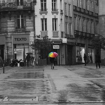 Rain, City, Umbrella, Color, Rainbow