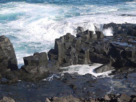 Surf, Wave, Lava Rock, Submerged, Border, Defense