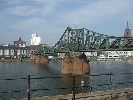 Bridge, Frankfurt, Downtown, Town, Overpass, Connection