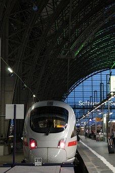 Railway Station, Frankfurt, Train, Ice, Deutsche Bahn