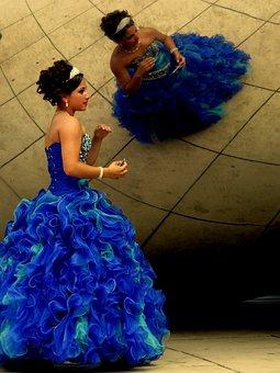 Girl, Birthday, 15 Yeard, Blue Dress, Celebration