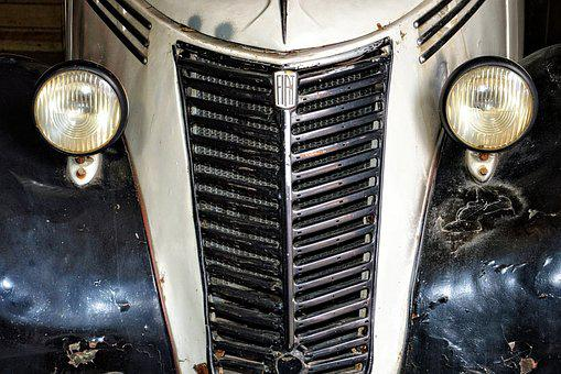 Car Front, Grille, Spotlight, Oldtimer, Auto, Old