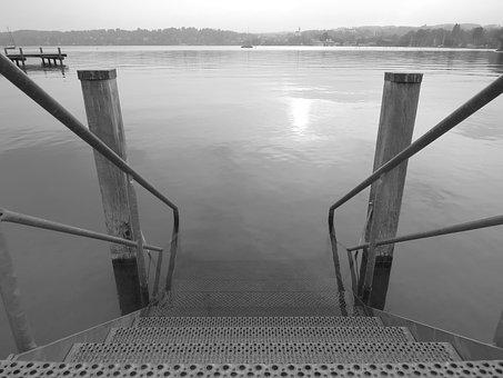 Lake, Ladder, Water, Nature, Germany, Landscape