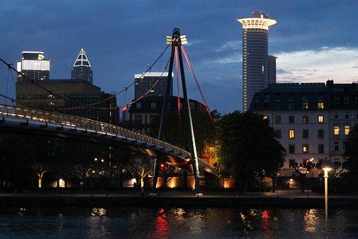 Frankfurt, Bridge, Pedestrian Bridge, Lighting, Main