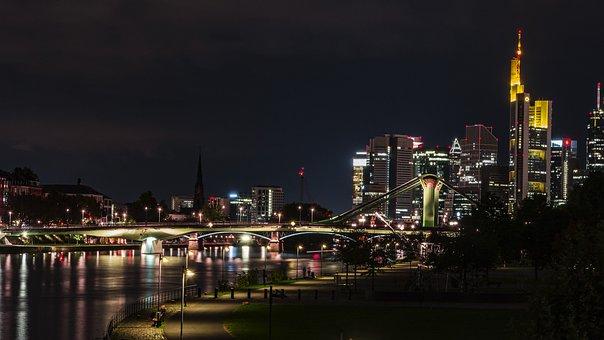 Frankfurt, Main River, Night, City, Skyline