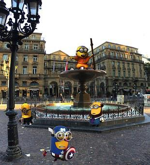 Frankfurt, Fountain, The Editor, Minionki, Photoshop