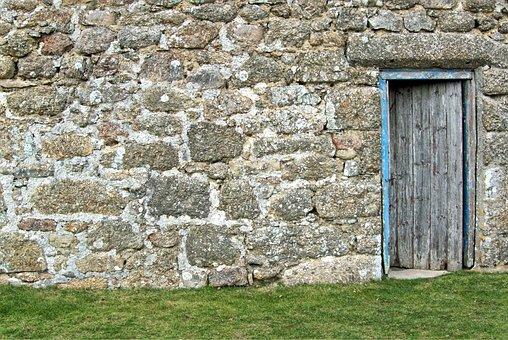 Door, Wall, Old, Stone, Granite, Blocks, Mortar, Rustic