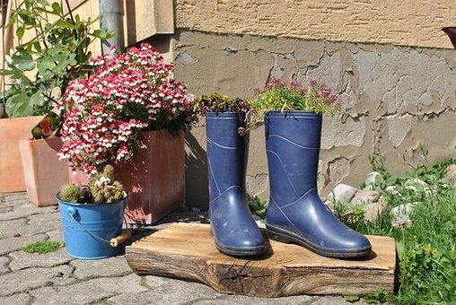 Flowers, Nature, Garden, Pink Flower, Rubber Boots
