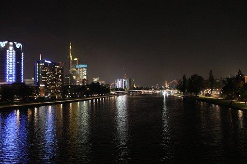 Night, Frankfurt, Main, City, Architecture, Building