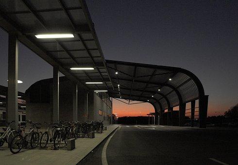 Friuli, Cividale, Bus Station, Sunset, Nocturne