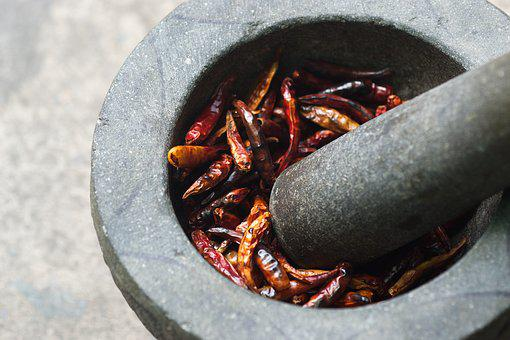 Cayenne Pepper, Dried Peppers, Paprika Dry, Mortars