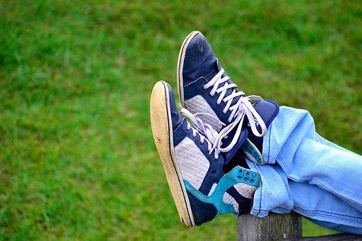 Shoes, Park, Rest, Relax, Jeans, Boots, Boy, Grass