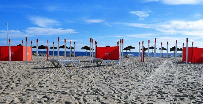 Beach, Quiet, Low Season, Wind Screen, Algarve