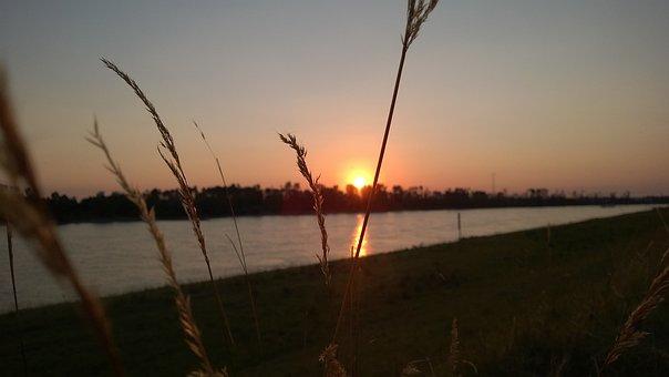 Sunset, Düsseldorf, Rhine, Bank, River, Germany