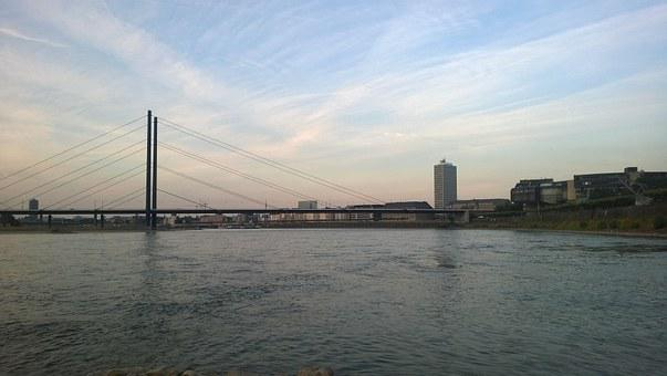 Düsseldorf, Rhine, Bank, River, Germany