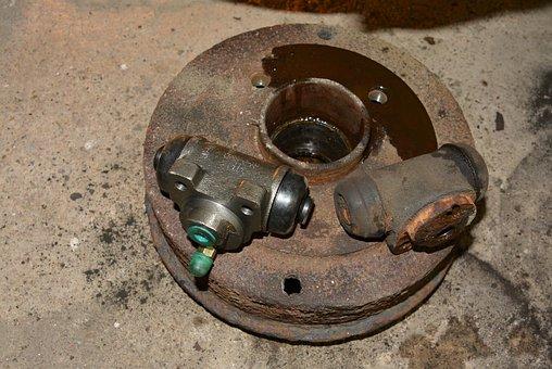 Brake Drum, Old, New Brake Cylinder, Rust, Detail, Car