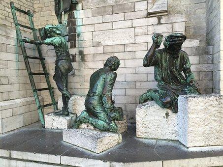 Statue, Antwerpen, Sculpture, Bronze, Ladder, Belgium