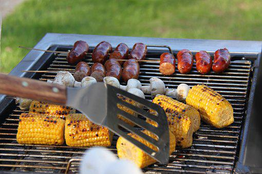 Grilling, Summer, Corn On The Cob, Sausage, Summer Time
