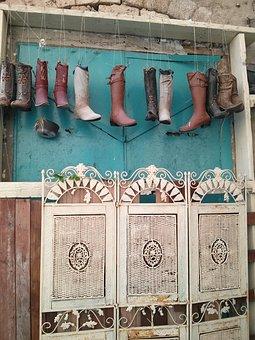 Boots, Shoes, Garden, Vintage, Terrace, Planting, Bench