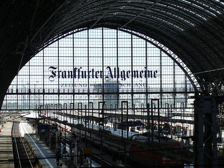 Train, Railway Station, Bank City, Germany