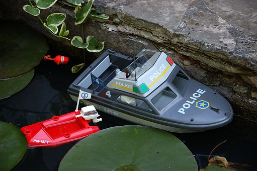 Boot, Toys, Plastic Boat, Garden Pond, Leaves, Water