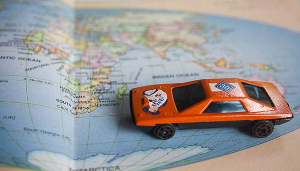 Road Trip, World Map, Toy, Car, Auto, Map, Vehicle