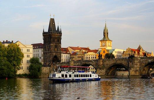 Prague, River, Architecture, Bridge