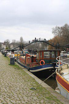 Nantes, Boats, Erdre, France, Dock, Barge, Walkway