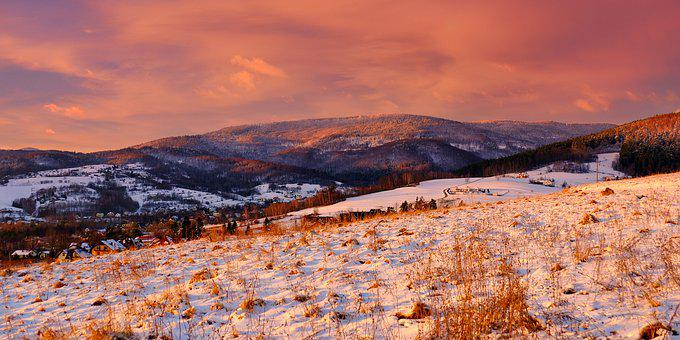 Sunset, Beskids, Landscape, Winter, Mountains, Nature