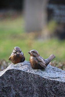 Birds, Brass, Bird, Ornament, Metal, Bronze, Cemetery