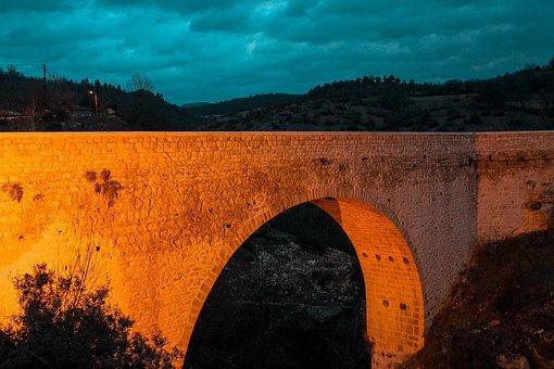 Bridge, Stone, Night, City, Water, Architecture, River