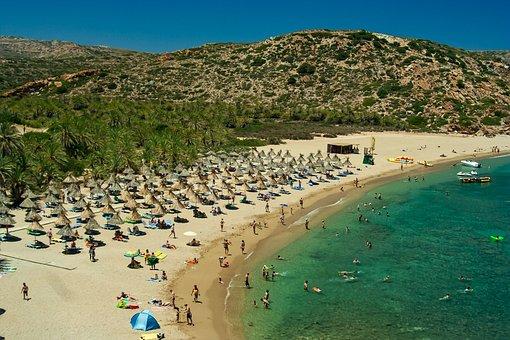 Beach, Blue Sky, Boat, Clear Water, Cloudless, Cretan