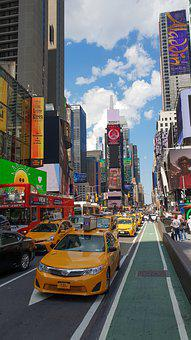 Newyork, Times Square, City, Busy, Crowd, Taxi, Traffic