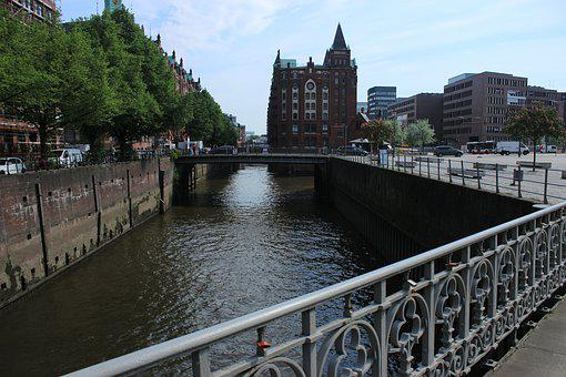 Hamburg, River, Day, City, Architecture, Elbe