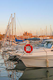 Mallorca, Palma, Cathedral, Marina, Evening Sun