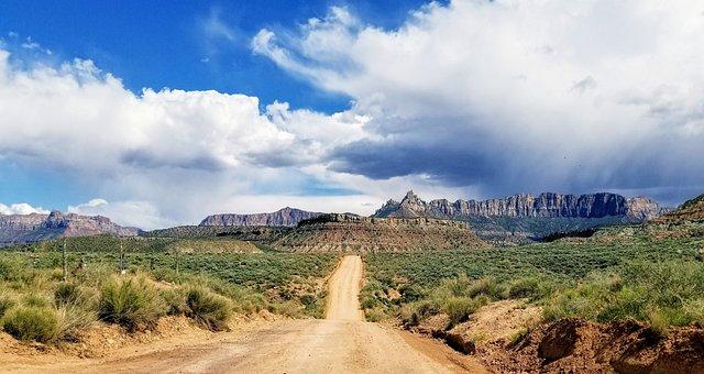Landscape, Sandstone, Utah, Storm, Skies, Geology