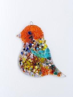 Handmade Children's Work, Stained Glass Work, Bird