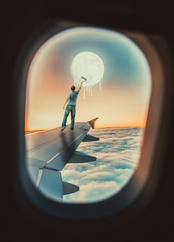 Photoshop, Manipulation, Moon, Man, Plane, Wings