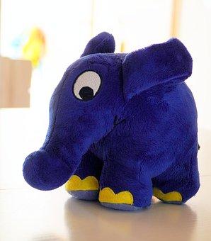 Elephant, Blue, Toys, Plush Figure, Funny