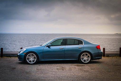 Infiniti, G35, Sedan, Poland, Sea, Car, Water, Holiday