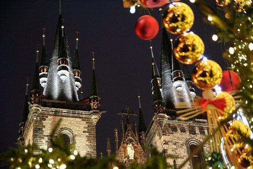 Christmas, Prague, Church, Winter