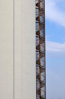 Landscape, Building, Concrete, Iron, Spiral Staircase